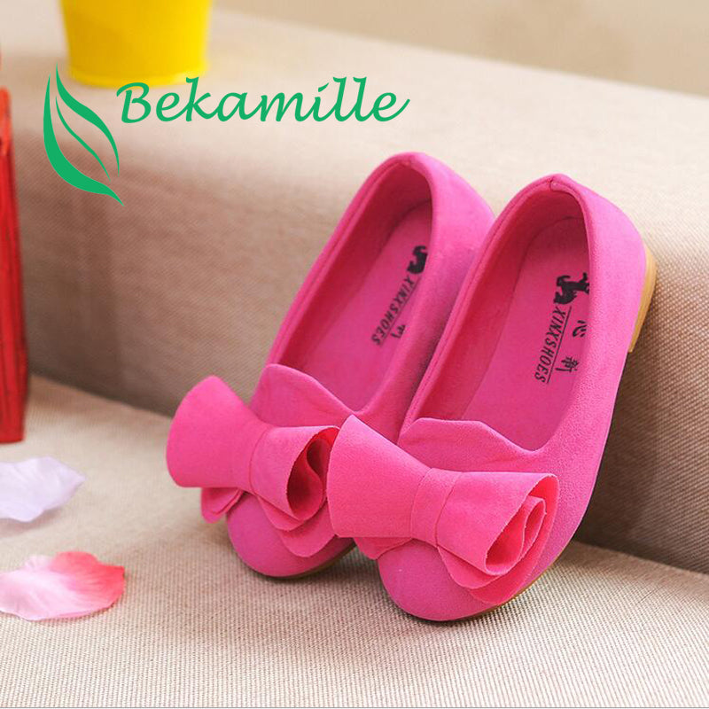 Bekamille Children Spring Autumn Shoes Girls Single Princess Shoes Kids Girls Casual Big Bow Sneakers  Size 21-36
