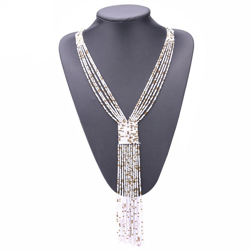 Fashion Graceful Joker Women Necklace Boho Long Tassel Kolye Red Seed Beads Hand-woven Neck Decoration New Mothers Day Gift