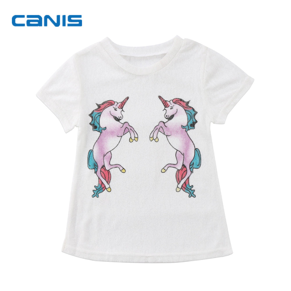 Brand New Infant Fashion Toddler Child Kid Baby Girl Unicorn Dress Shortsleeve Top shirt Prespective Cartoon Clothes 6M-5T