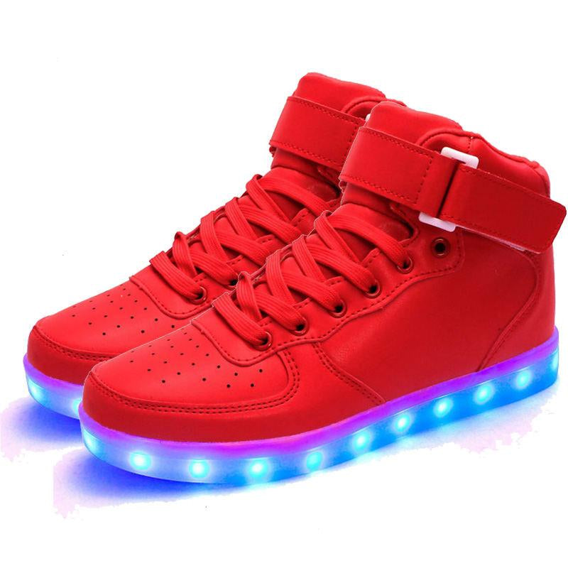 Merkmak  Unisex Lights Up Led Luminous Shoes High Top Glowing Casual Shoe With Simulation Sole Shoes For Men