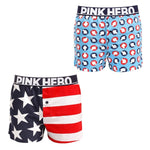 Pink Hero Men Underwear 2pcs  Boxers Printed Cotton Loose Pants Underwear Men Boxer Shorts   Men Underwear Shorts Men Cuecas