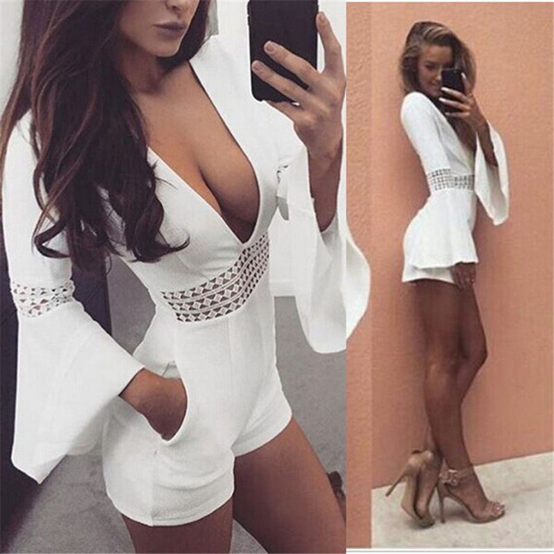 Women's Deep V-Neck Long Flare Sleeve Beach Romper