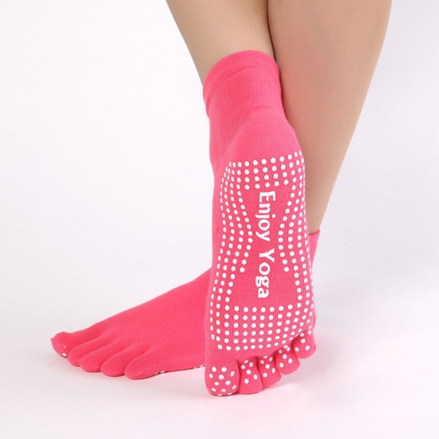 Women's Colorful Anti-Slip Yoga Toe Socks