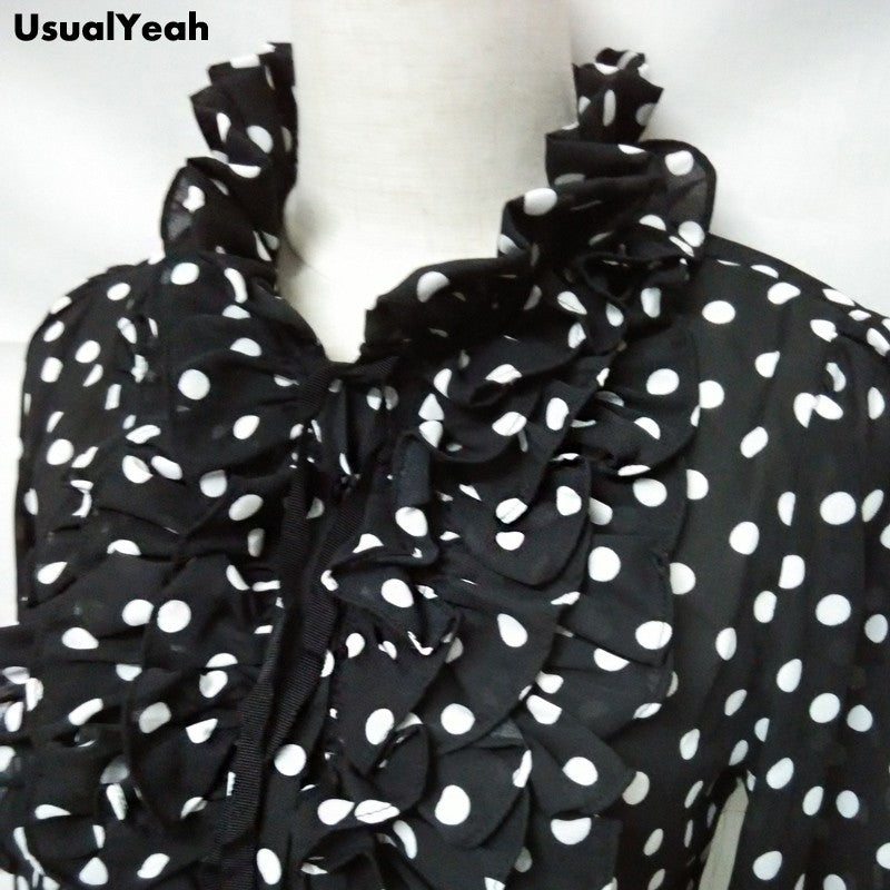 Fashion Korea Style Vintage Chiffon Polka Dots Women's Body Blouse Tops Shirt Stand Collar Ruffles S M L XL
