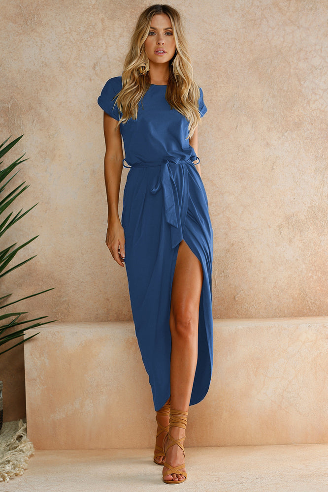 BEFORW Spring and Summer Women Dress Fashion Short Sleeve Front Fork Long Dresses Vintage Irregular Vacation Beach Dress