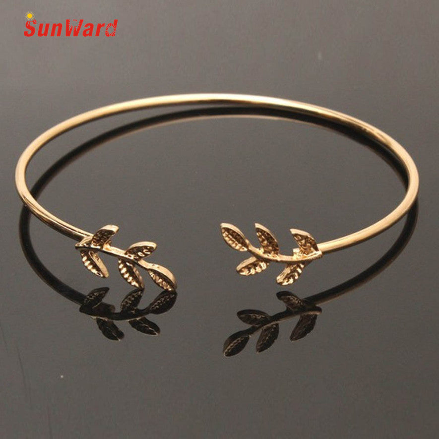 Lucky Women Girls Crystal leaf Charm Bracelet Bangle Silver Gold Bracelet 1pc