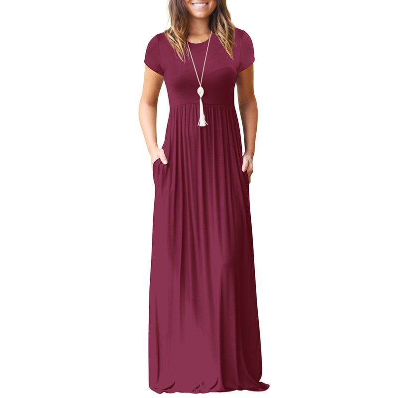 Women Short Sleeve Maxi Dress Casual O Neck Solid Dress Summer Pocket Floor Length Long Dress for Women Party Dresses Female