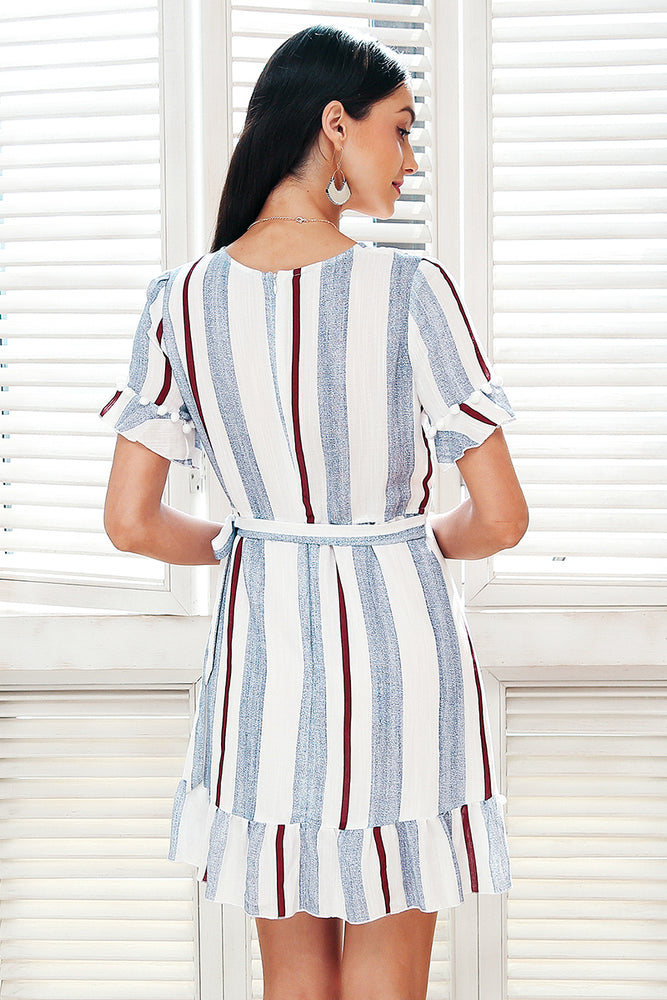 Women's V-Neck Striped Casual Ruffle Dress