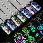 8pcs/Lot Holographic Nail Foil Laser Flower Dreamcatcher Mixed Patterns Galaxy Manicure Nail Art Transfer Sticker Set SA633