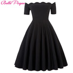 Belle Poque Women Dress Robe Vintage Off Shoulder Black Summer Dress Jurken 1950s 60s Retro Rockabilly Swing Party Dresses