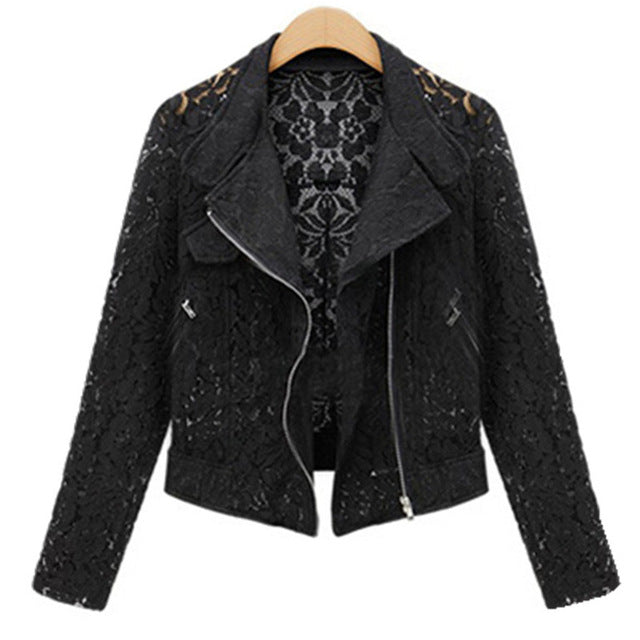 Neophil Autumn Winter Fashion Long Sleeve Zipper Hollow Out Lace Biker Black Short Jackets Ladies Office Work Wears C08015