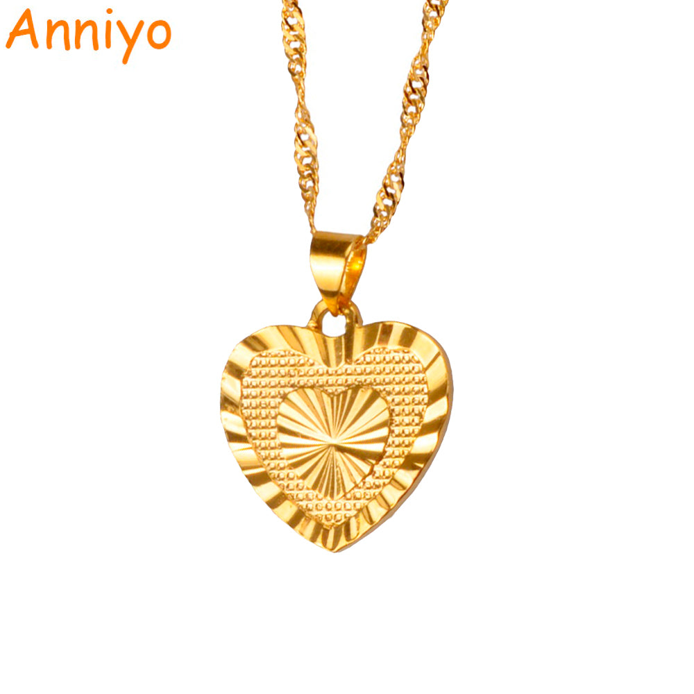 Anniyo 1.8cm Heart Pendant and Necklaces Romantic Jewelry Gold Color for Womens,Wedding gift,Girlfriend Wife Gifts #006110