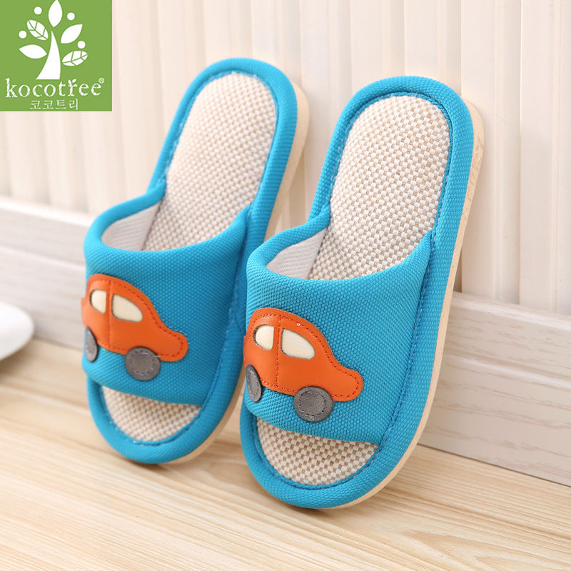 Kocotree Brand Cartoon Car Kids Slippers Children Home Shoes Baby Shoes For Boys Girls Indoor Bedroom Spring Flax Slipper