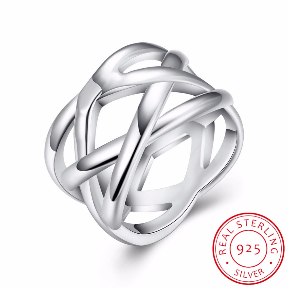 925 Sterling Silver Double X Cross Ring Women Jewelry Love Wedding Band Engagement Rings For Female Jewelry Simple Anel Bague