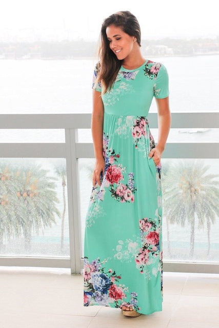 S-3XL Elegant Women Robe Summer Short Sleeve Printed Maxi Dress Fashion Sexy Boho Dress Tighten Waist Long Dress Vestidos