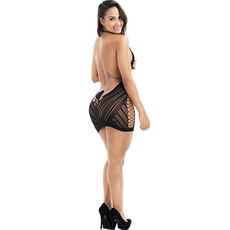 Costums   Lingerie For Women Fishnet Halter Babydoll Mini Dress Elastic   Lingerie Plus Size   Costumes