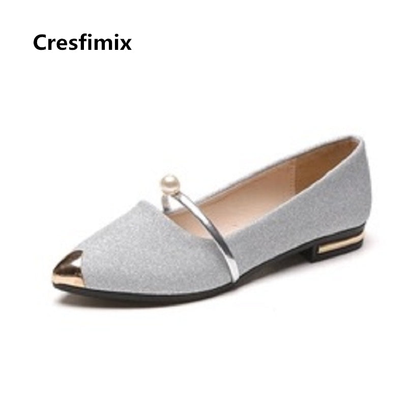 Cresfimix zapatos women fashion pu leather spring & summer slip on flat shoes lady   party night club flats female cool shoes
