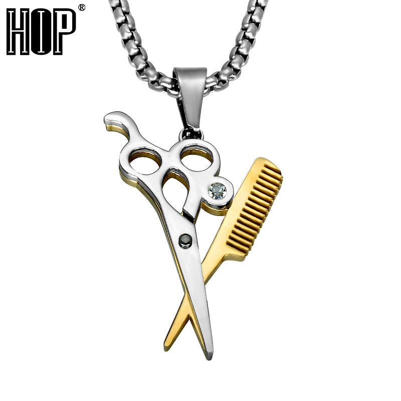 Haircut Scissors Pendants Necklaces Gold Color Stainless Steel Chain Necklace for Men