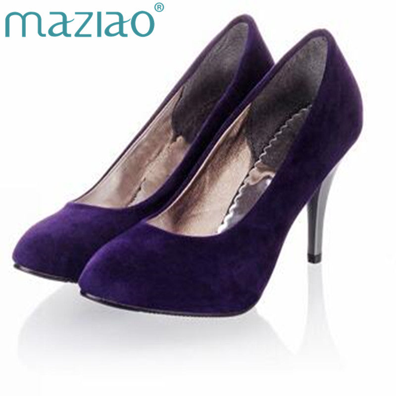 MAZIAO Plus size 34-45 Spring summer Women shoes Pointed toe Spool heels Flock sandals Pumps Fashion   Party Purple