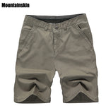 Mountainskin New Summer Men's Cotton Shorts Solid Casual Men's Business Shorts Soft Thin Brand Male Beach Shorts