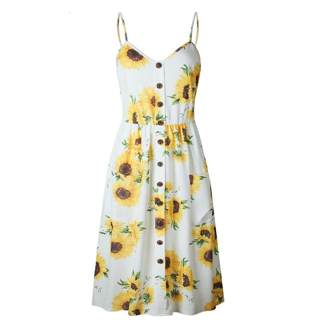 Women's V-Neck Print Floral Long Boho Bohemian Beach Summer Dress