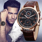 Men Watch Retro Design Leather Band Analog Alloy Quartz Wrist Watch