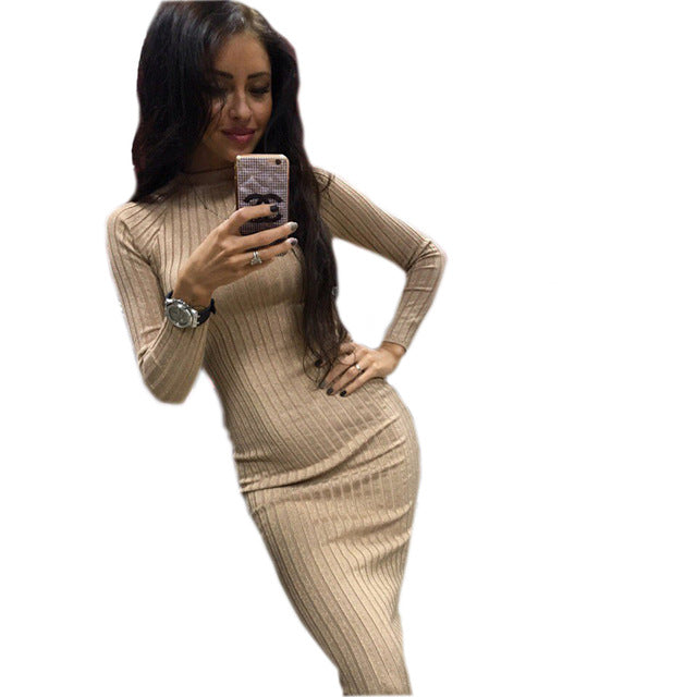 Women's Autumn Spring Dresses Robe Sexy Black Midi Sheath Slim Bodycon Dress Long Sleeve Elegant Package Hip Dress