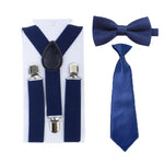 Boys Navy Blue Suspenders Y-Back Braces Adjustable Necktie Bowtie Ties Set