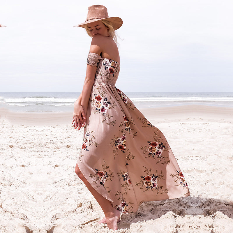 Dress Summer  Female Strapless Dress Ladies Chiffon Printed Furcal Beach Dress Maxi Long
