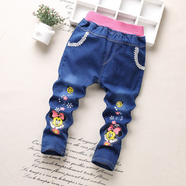 New spring autumn baby girls jeans children cartoon kitty rabbit trousers kid casual pants retail 2-5 years old