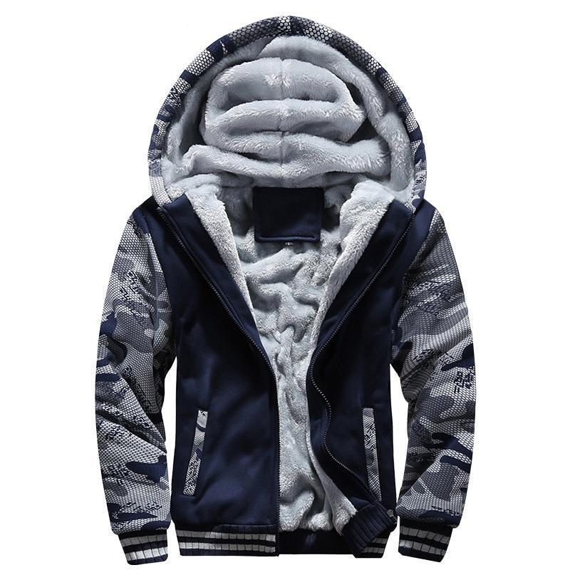 Men's Thick Fleece Lined Hooded Camouflage Jacket