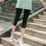 Pants Summer Essential Fashion Stitching Capris Skinny Knitted Elastic Waist Mid Trousers Points Calf-Length Pants