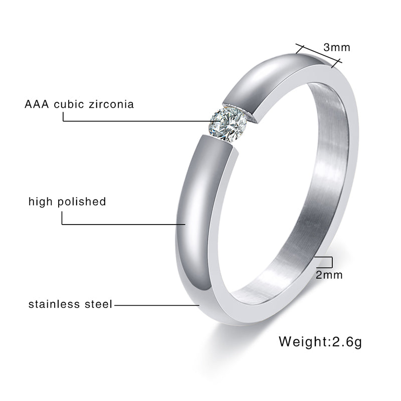 3mm Polished Stainless Steel Women's Single Cubic Zirconia Wedding Ring