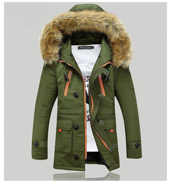 Men's Slim Fit Fur Lined Hoodie Thick Parka