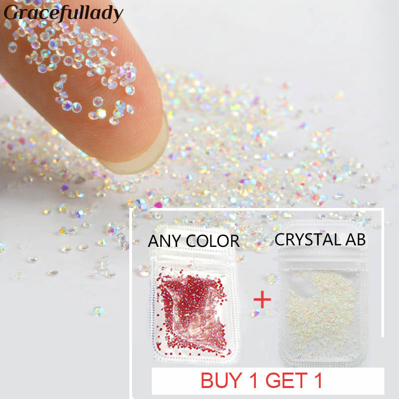 Crystal 1.1mm Pixie Crystal Nail Rhinestone Glass Micro Rhinestones For 3D Nails Art Decorations Manicure Tools
