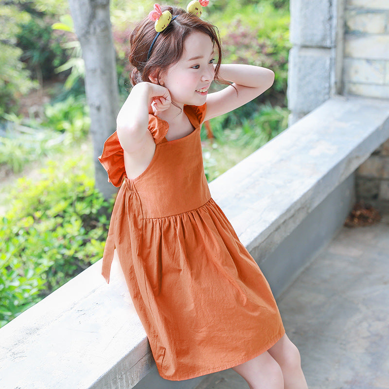 backless summer bohemian style girls dress sundress for girls flare sleeve beach dress kids clothes 5 6 7 8 9 10 11 14 T