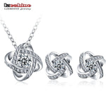 LZESHINE New Silver Color Flower Jewelry Sets For Women with AAA Cubic Zircon Fashion Clover Necklace/Earrings Set for Wedding