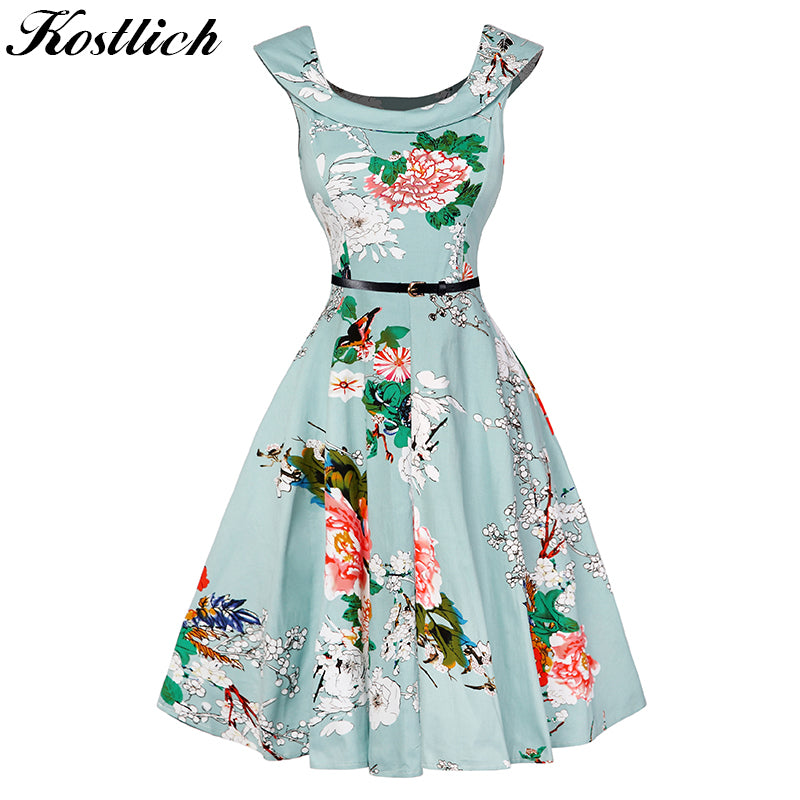 Kostlich Floral Print Women Summer Dress Hepburn 50s 60s Vintage Dress Women A-Line Party Dresses With Belt Sundress Female