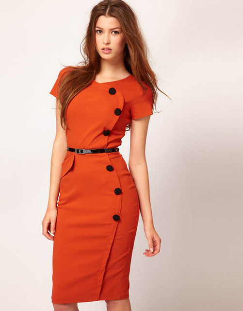 Oxiuly Summer Women Solid Black White Orange Green Dresses Casual O-Neck Bodycon Knee-Length Dress no Belt