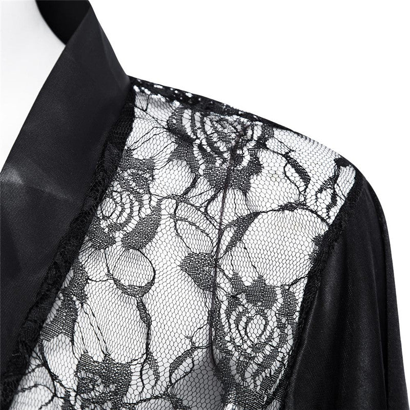 Lingerie Plus Size Satin Lace Black Kimono Intimate Sleepwear Robe   Night Gown Women   Underwear
