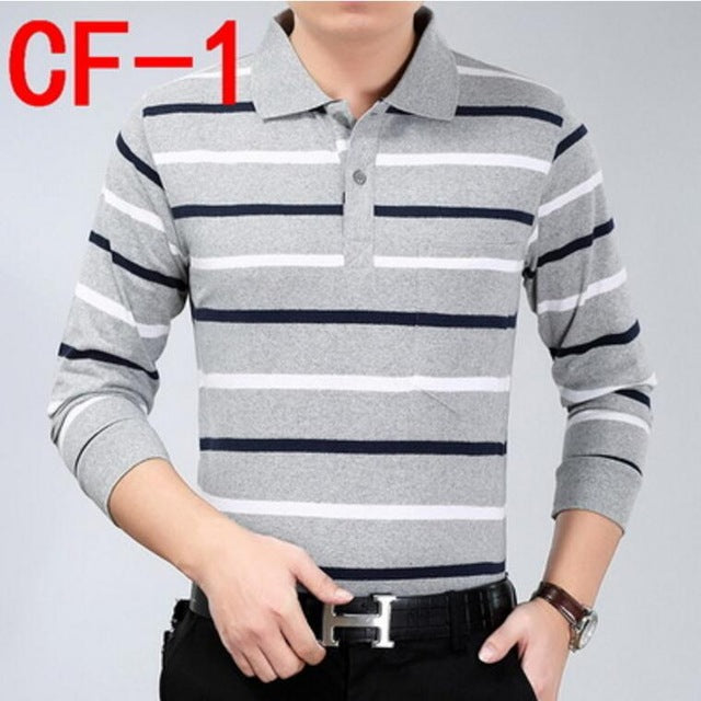 spring autumn Business Men Polo Shirt Fashion Good Quality Classic Striped Homme Camisa long sleeve polo