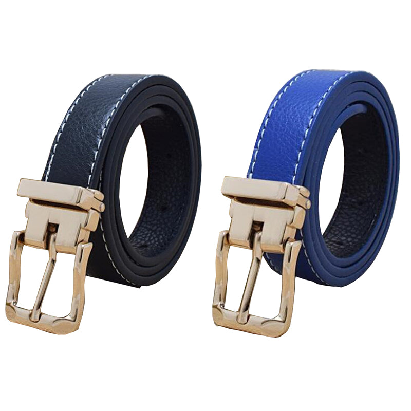 Children Faux Leather Belts With Removeable Gold Buckle