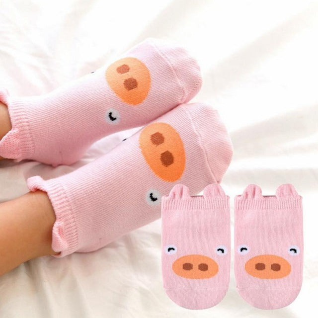Baby Infant Socks Newborn Cotton Boys Girls Cute Cartoon Anti-slip Children's Animal Socks kindersokken effen #9129