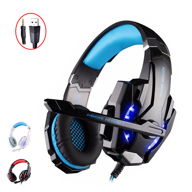 KOTION EACH G9000 Earphones Gaming Headset headphones With Mic LED Light For Laptop Tablet computer PC Earphone Stereo Headset
