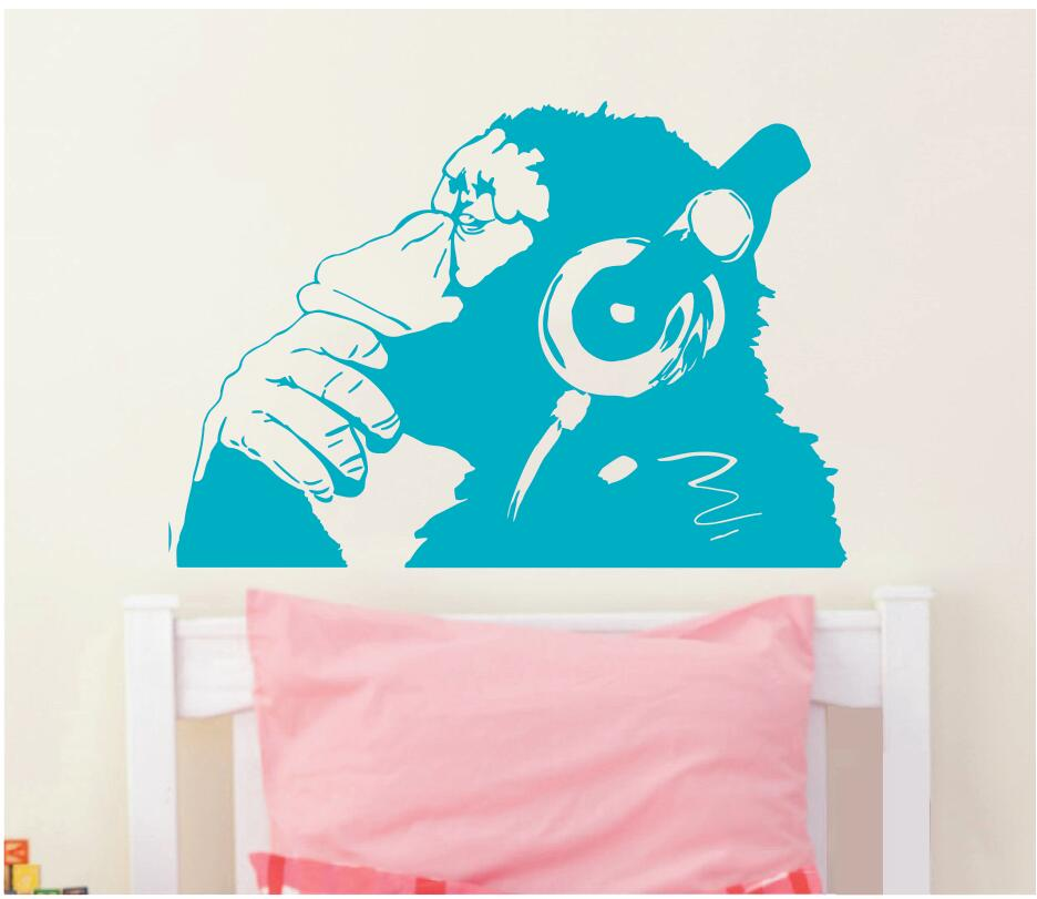 Banksy Vinyl Wall Decal Monkey With Headphones Chimp Listening to Music In Earphones Street Graffiti Sticker Mural Poster W-23