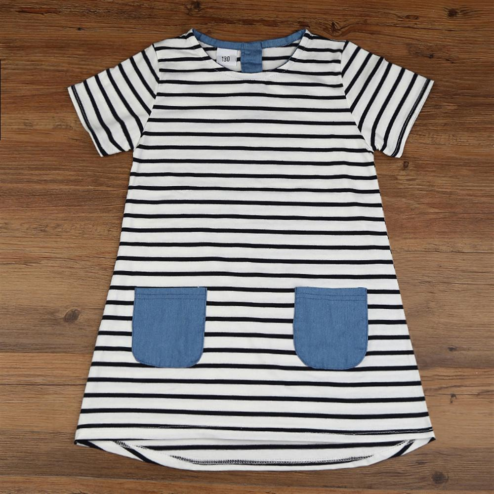 Kids Dresses New Summer Short-Sleeved Girls Dress Cotton Casual Children Clothing 2 3 4 5 6 7 Year Girls Clothes
