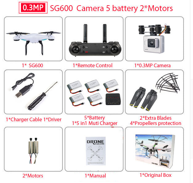 SG600 RC WiFi Quadcopter Drone with HD Camera