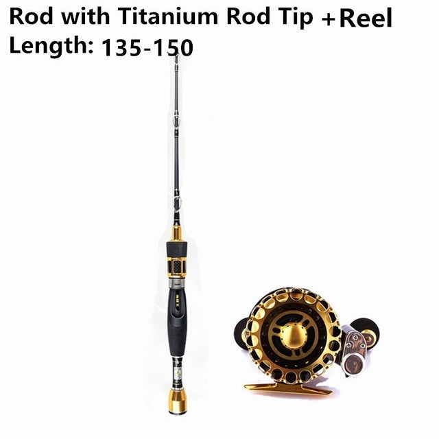 Titanium Alloy Fly Fishing Rod Tip and Spinning Reel Combo Set
