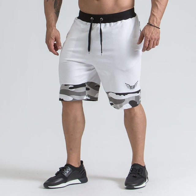 Men's Cotton Zipper Pocket Athletic Fitness Shorts