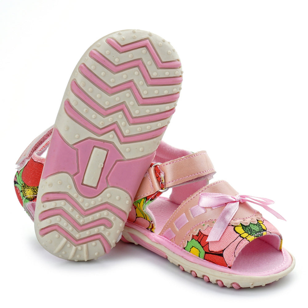 Baby Pink Shoes Sandal Girl Kids Soft Sole Sandals Anti-skid Flat Heels Footwear Summer Children Walker